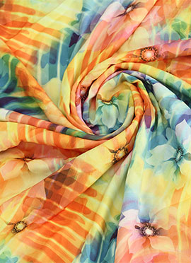 Multicolor Crepe Digital Printed Fabric