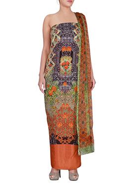Multicolor Satin Dress Material