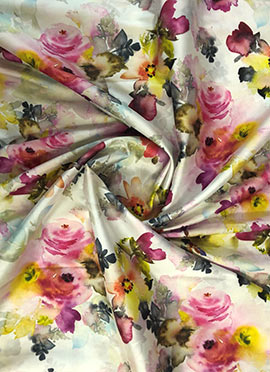 Multicolor Digital Printed Satin Fabric