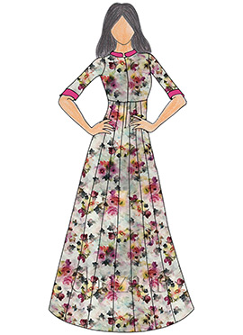 Multicolor Digital Printed Satin Gown