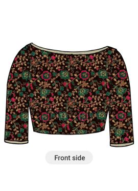 Multicolor Embroidered Velvet Blouse