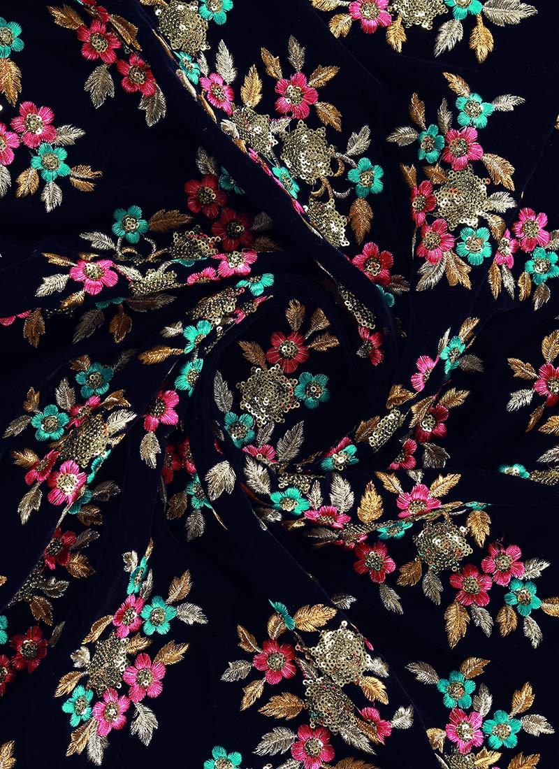 Buy Navy Blue Embroidered Velvet Fabric Embroidered Sequins Blended Patterned Online Shopping Efsuar831a506