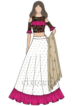 Multicolor Embroidered Velvet Flared Style Lehenga