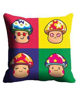 Multicolor Face Cushion Cover