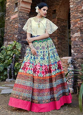 Multicolor Georgette Net Umbrella Lehenga