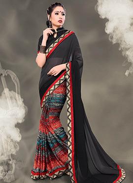 Multicolor Half N Half Saree