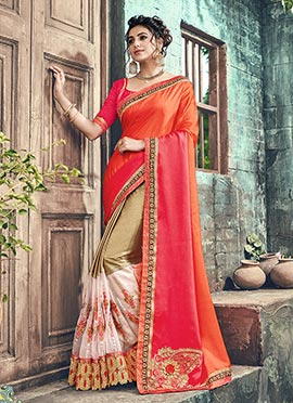 Multicolor Half N Half Saree