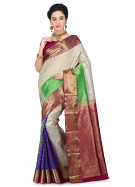 Multicolor Kancheepuram Pure Silk Saree