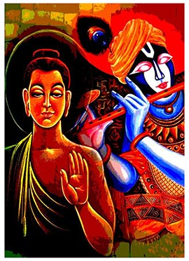 Multicolor Krishna N Buddha Canvas