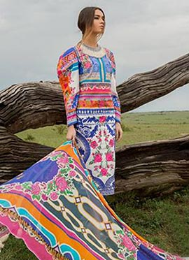 Multicolor Lawn Straight Pant Suit