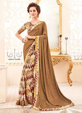 Multicolor N Brown Crepe Silk Saree