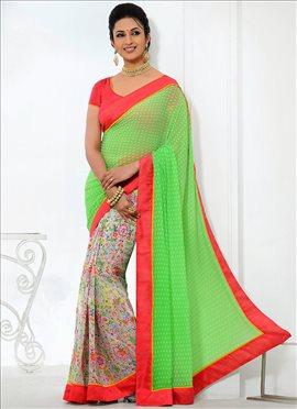Georgette Divyanka Tripathi Half N Half Saree