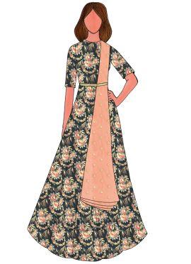 Multicolor N Peach Chanderi Cotton Anarkali Suit