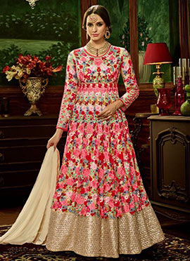Multicolor Net Abaya Style Anarkali Suit