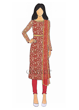 Multicolor Net Embroidered Churidar Suit