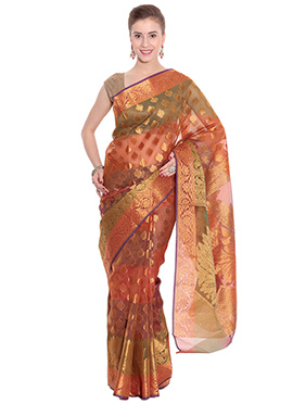 Multicolor Organza Saree