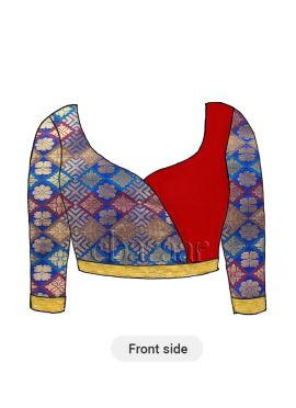 Multicolor Overlapping Brocade Blouse