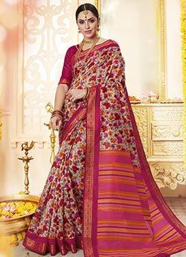 Multicolor Polyester Saree