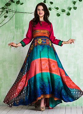 Multicolor Printed Gown