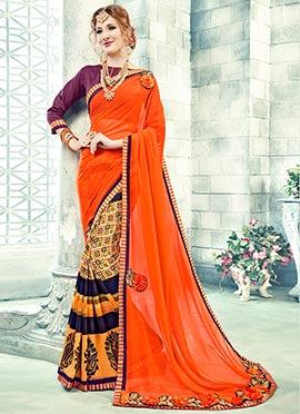 Multicolor Printed Half N Half Saree
