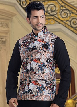Multicolor Printed Nehru Jacket