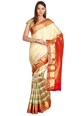 Multicolor Pure Kancheepuram Silk Saree