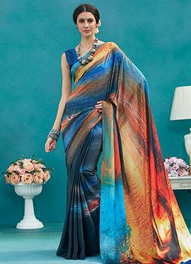 Multicolor Satin Blend Saree