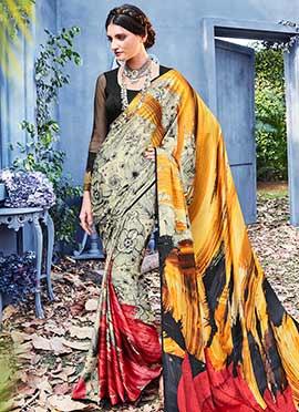 Multicolor Satin Saree
