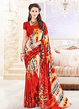 Multicolor Silk Crepe Saree