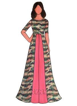 Multicolor Taffeta Silk Floral Printed Gown