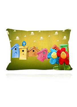 Multicolor Toy House Cushion Cover