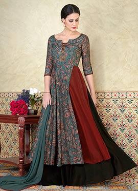 Multicolor Tussar Silk Abaya Style Anarkali Suit