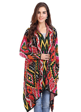 Multicolored Abstract Patterned Cardigan