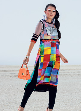 Multicolored Abstract Printed Kurti