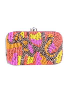 Multicolored Art Silk Beads Embellished Box Clutch