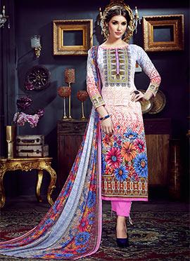 Multicolored Art Silk Cotton Straight Pant Suit