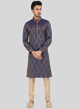 Multicolored Art Silk Kurta Pyjama