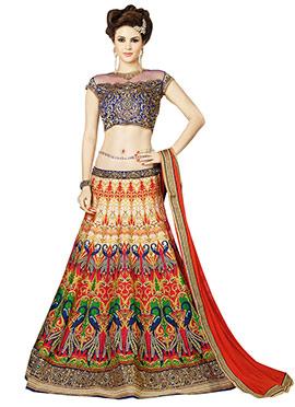Multicolored Art Silk Lehenga Choli