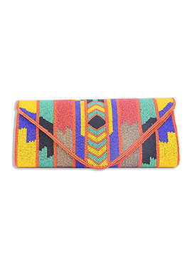 Multicolored Beads Embellished Art Silk Clutch