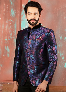 Multicolored Benarasi Art Silk Bandhgala Jacket