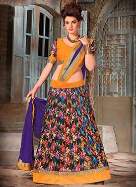 Multicolored Bhagalpuri Silk Lehenga Choli
