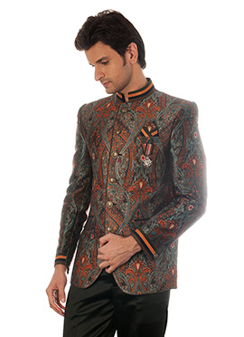 Multicolored Blended Cotton Bandhgala Jacket