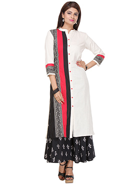 Multicolored Blended Cotton Long Kurti