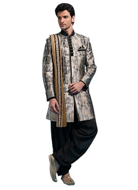 Multicolored Blended Cotton Sherwani