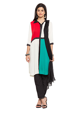 Multicolored Blended Cotton Straight Pant Suit