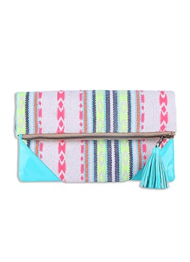 Multicolored Canvas Abstract Patterned Clutch