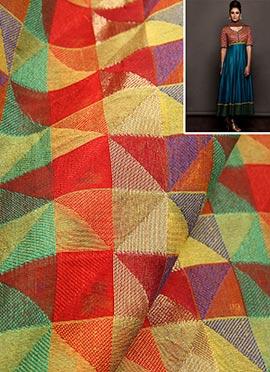Multicolored Chanderi Silk Anarkali Suit