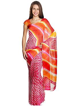 Multicolored Chiffon Leheriya Patterned Saree