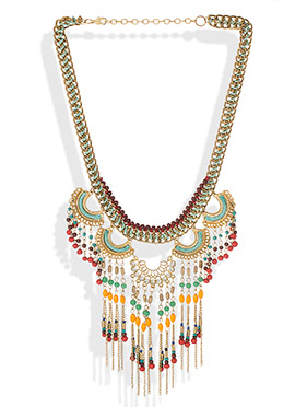 Multicolored Cluster Beads Necklace