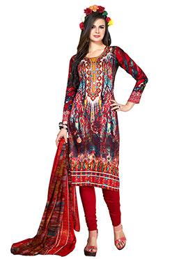 Multicolored Cotton Churidar Suit